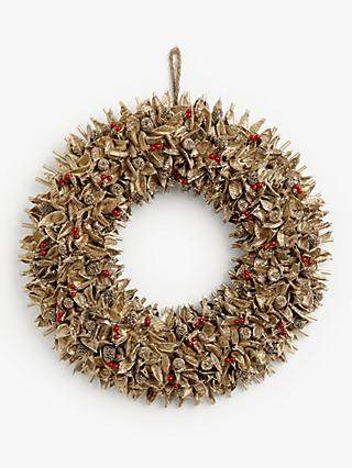 John Lewis & Partners Campfire Pine Berry Wreath, Gold / Red