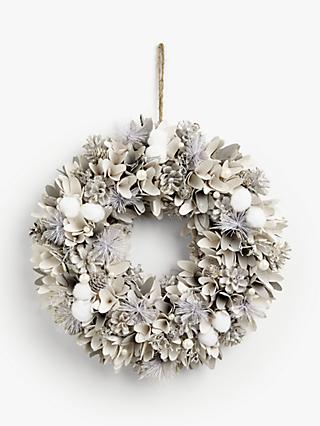 John Lewis & Partners Snowscape Snowball & Pearl Wreath, White