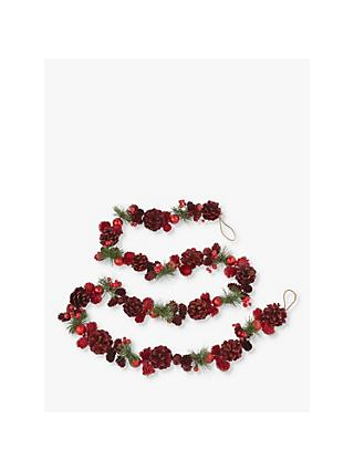 John Lewis & Partners Traditions Glitter Pine Cone Garland, Red