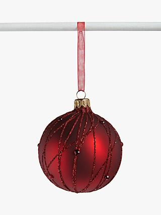 John Lewis & Partners Traditions Ruby Glitter Stripe Bauble, Burgundy