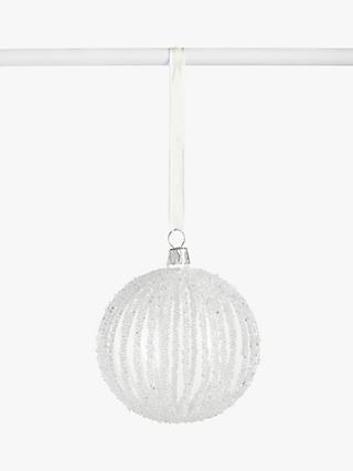 John Lewis & Partners Snowscape Beaded Stripe Bauble, Clear
