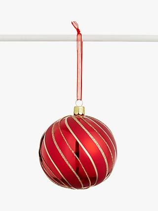 John Lewis & Partners Traditions Swirl Bauble, Ruby / Gold