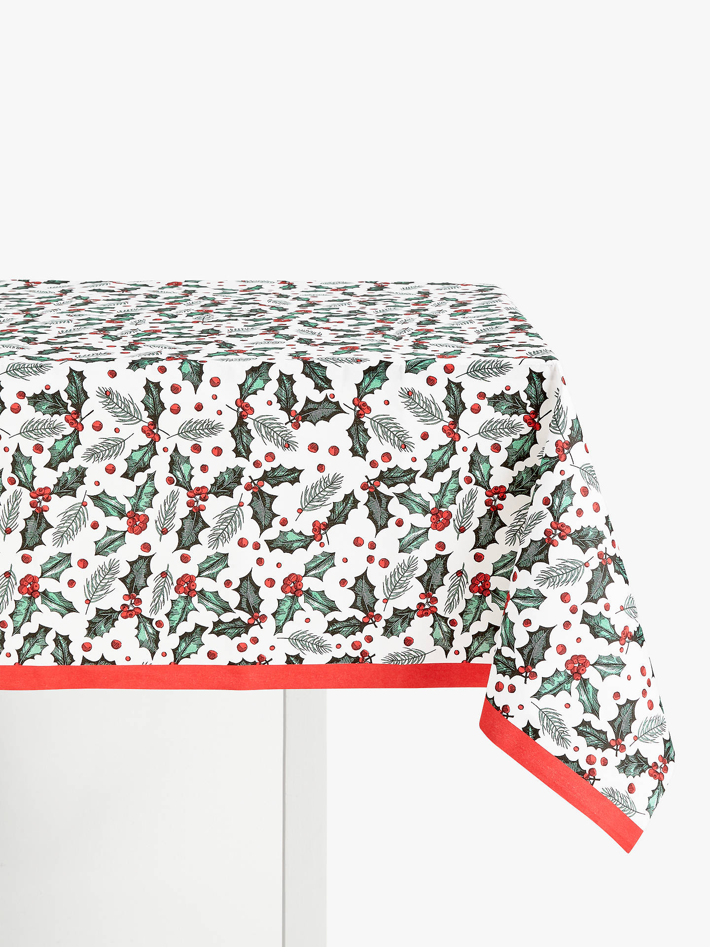 Buy John Lewis & Partners Holly Sprig Christmas Disposable Table Cover Online at johnlewis.com