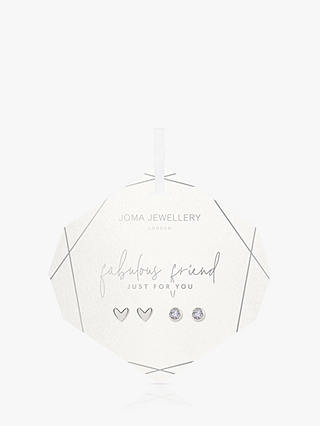 Buy Joma Jewellery Fabulous Friend Heart and Round Stud Earrings, Set of 2, Silver Online at johnlewis.com