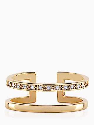 Joma Jewellery Aztec Double Bar Open Ring, Gold
