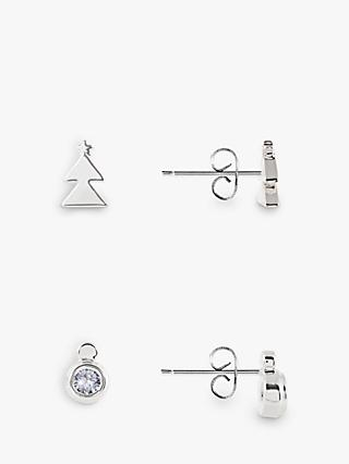 Joma Jewellery Merry Xmas Christmas Tree and Round Stud Earrings, Set of 2, Silver