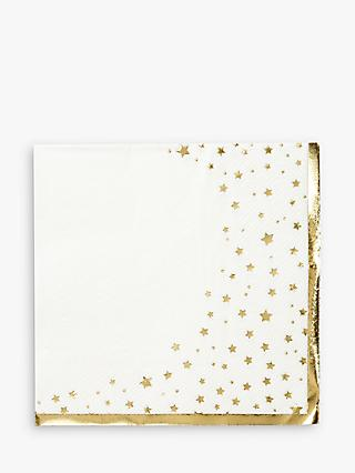 Talking Tables Gold Star Disposable Napkins, Pack of 16