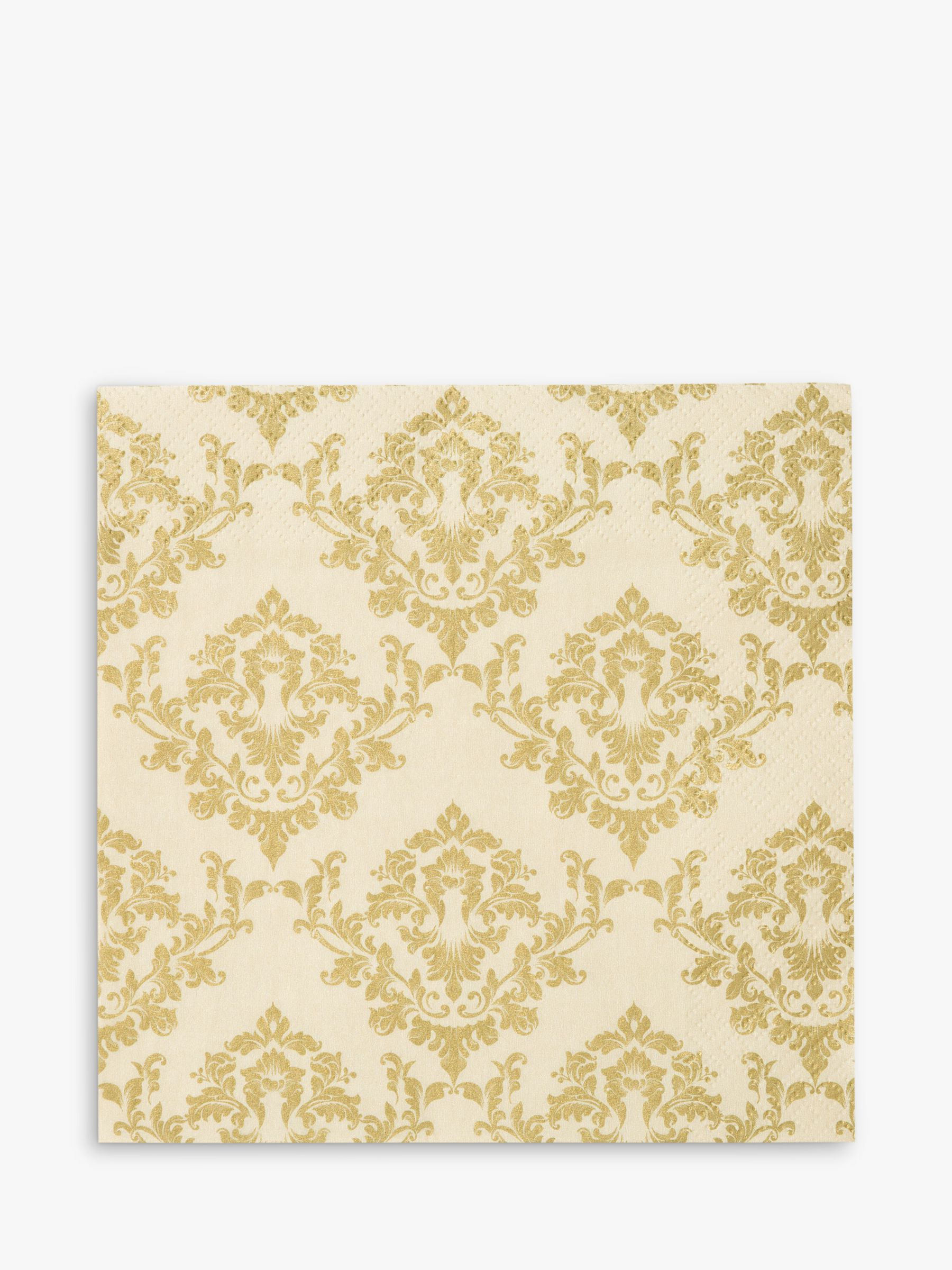 Talking Tables Talking Tables Gold Damask Disposable Napkins, Pack of 20