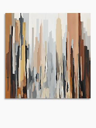 Gregory Lang - Manhattan Abstract Canvas Print, 80 x 80cm, Brown/Multi