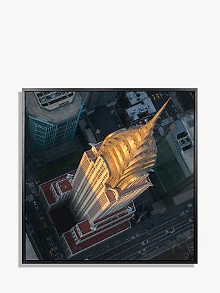 Jason Hawkes - Chrysler Building New York Aerial View Framed Canvas Print, 84.5 x 84.5cm, Multi