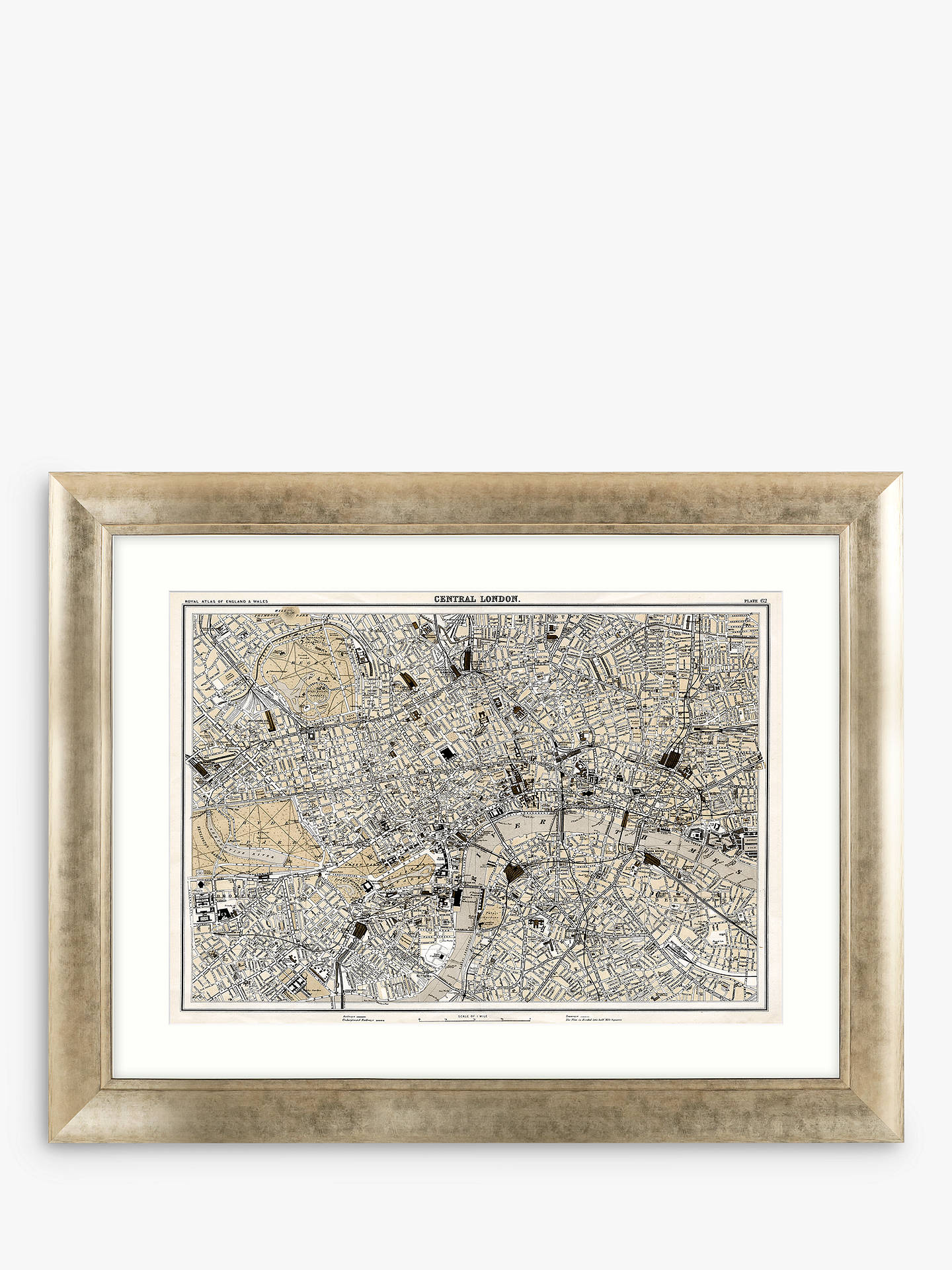Map Of Central London To Print.John Lewis Partners Central London Antique Map Framed Print Mount 73 X 93cm Multi