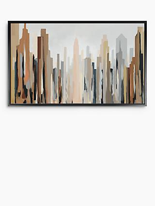 Gregory Lang - New York Skyline Framed Canvas, 64.5 x 124.5cm, Brown/Multi