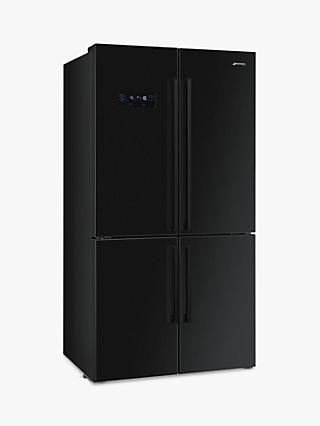 Smeg FQ60N2PE1 4-Door American-Style Freestanding 60/40 Fridge Freezer, A++ Energy Rating, 90.8 cm Wide, Black