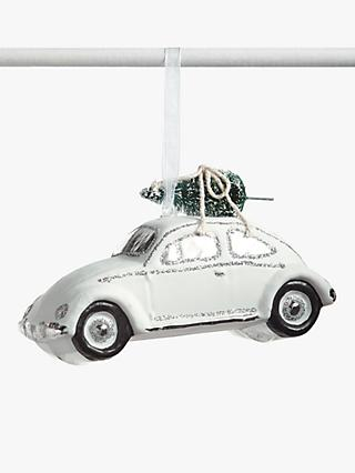 John Lewis & Partners Snowscape Car with Tree Decoration, White