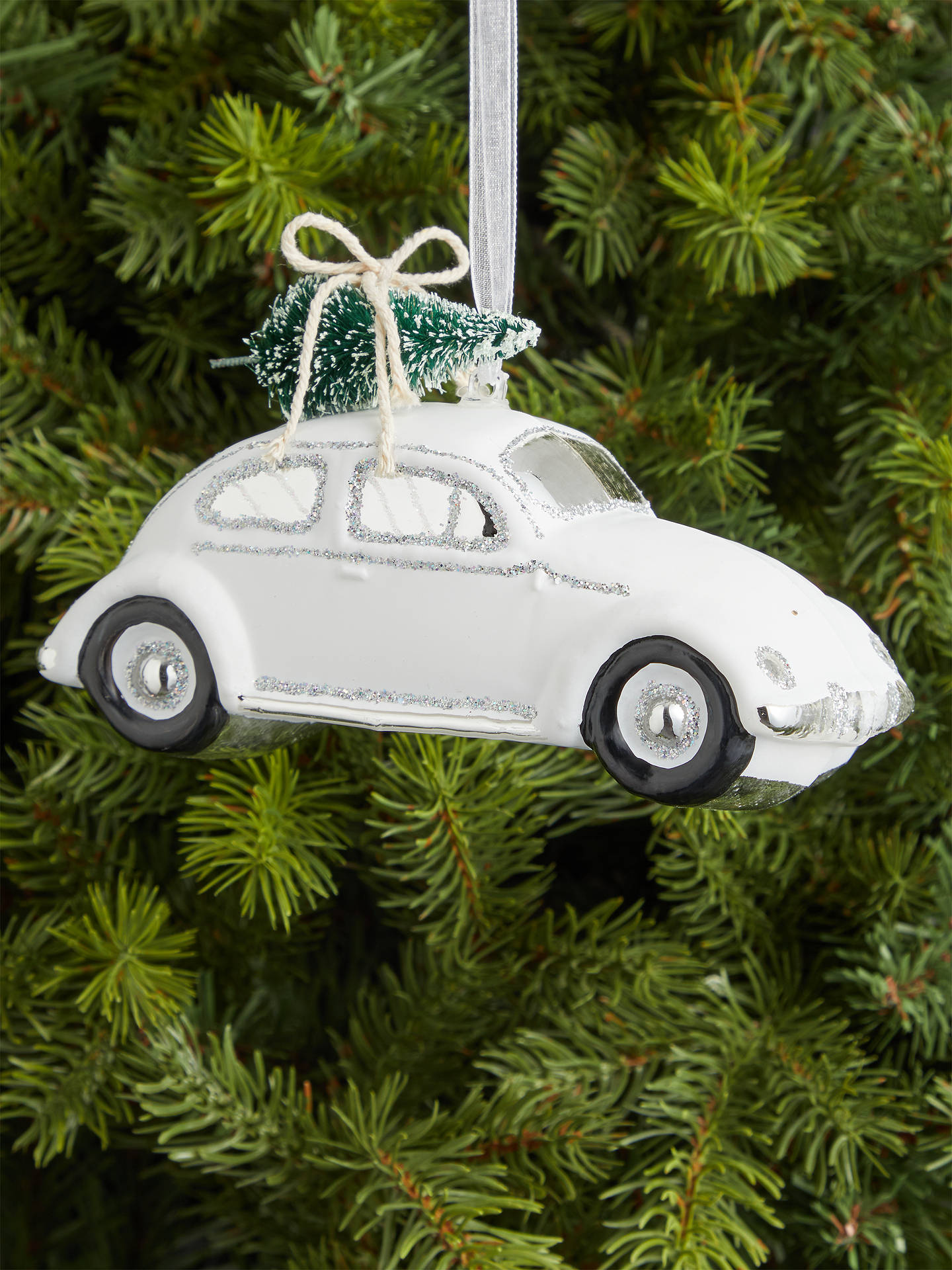 Buy John Lewis & Partners Snowscape Car with Tree Decoration, White Online at johnlewis.com