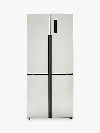 Haier Cube Series HTF-452DM7 Slim American-Style Freestanding Fridge Freezer, A++ Energy Rating, 83cm Wide, Stainless Steel Effect