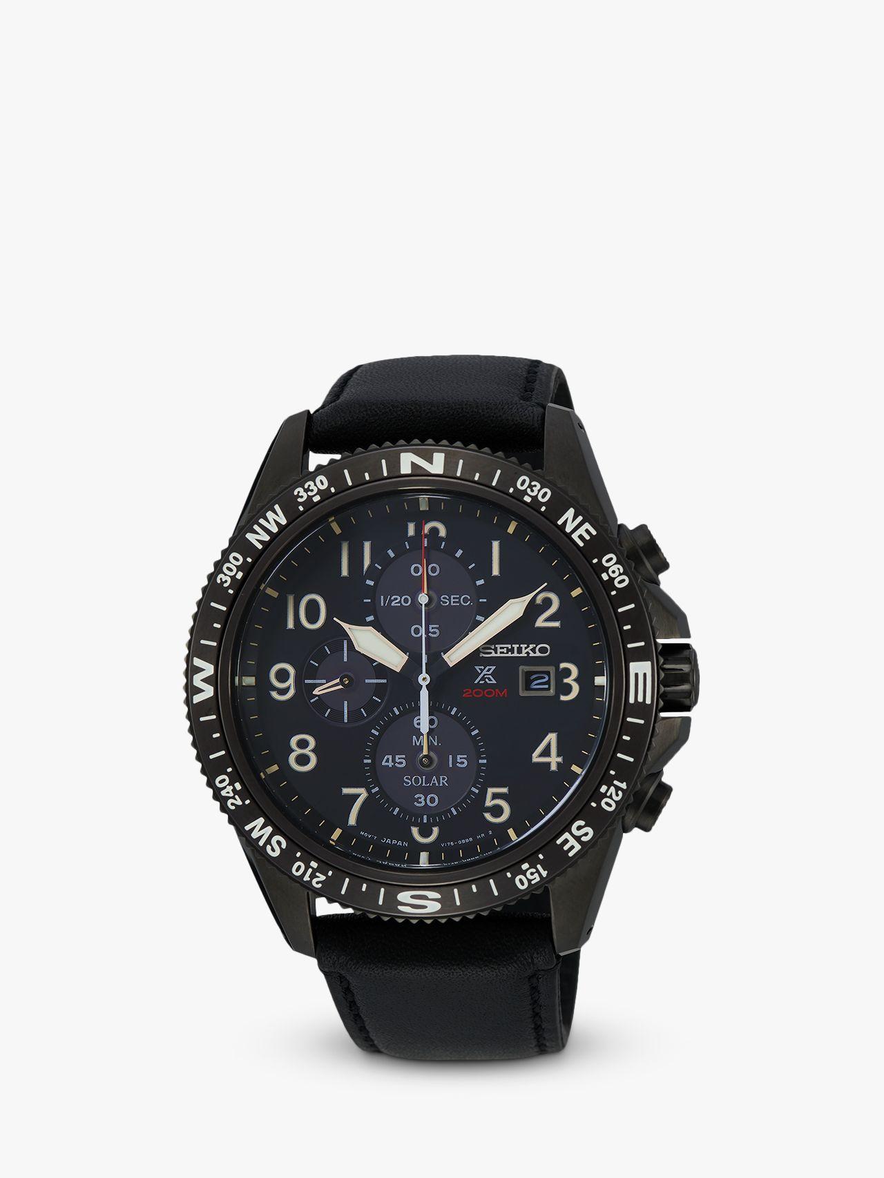 Seiko Seiko SSC707P1 Men's Prospex Land Solar Chronograph Leather Strap Watch, Black