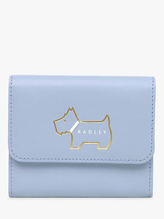 Radley Heritage Dog Outlined Small Leather Purse, Light Blue