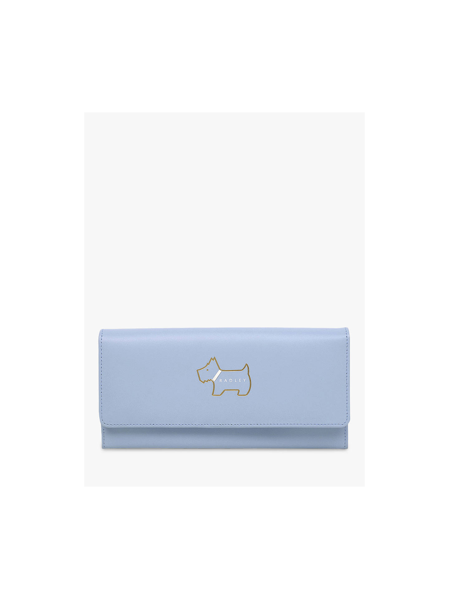 Buy Radley Heritage Dog Leather Outlined Large Matinee Purse, Light Blue Online at johnlewis.com