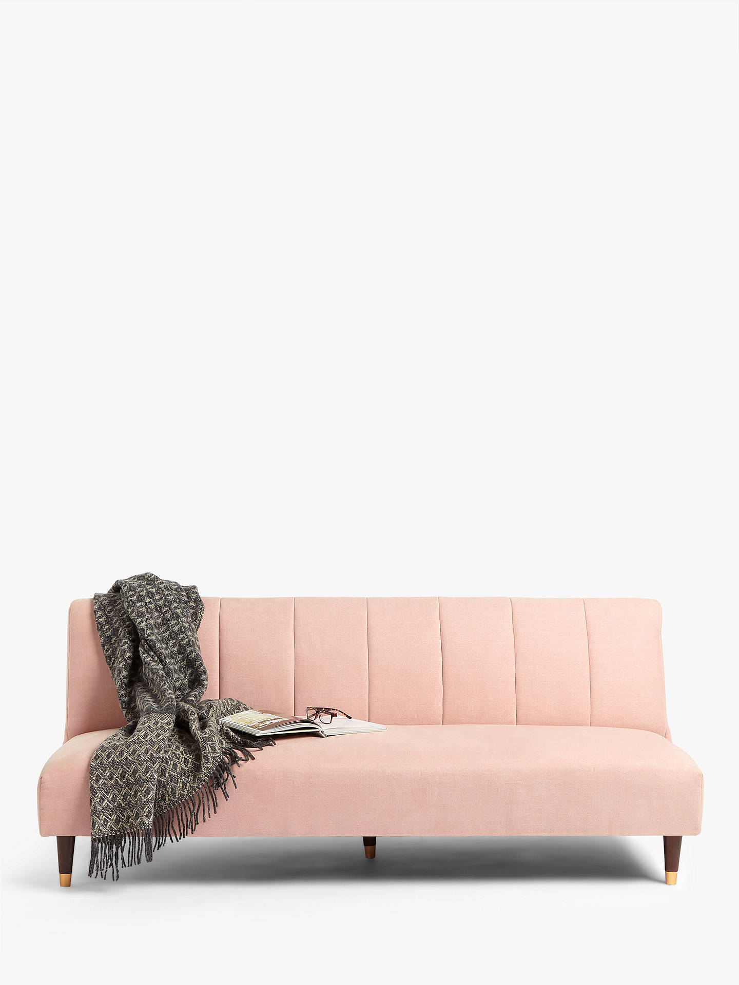 Buy John Lewis & Partners Fluted Medium 2 Seater Sofa Bed, Dark Leg, Hatton Soft Pink Online at johnlewis.com