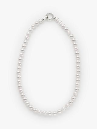 John Lewis & Partners Mother of Pearl and Cubic Zirconia Necklace, White