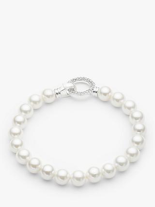 John Lewis & Partners Mother of Pearl and Cubic Zirconia Beaded Bracelet, White