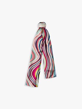 Paul Smith Large Swirl Stripe Silk Scarf, Multi