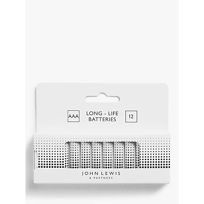 John Lewis & Partners 1.5V Alkaline AAA Batteries, Pack of 12