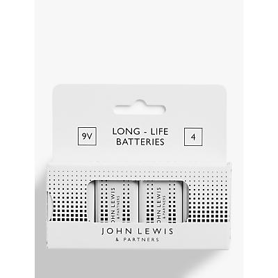 John Lewis & Partners 9V Alkaline LR61 Batteries, Pack of 4
