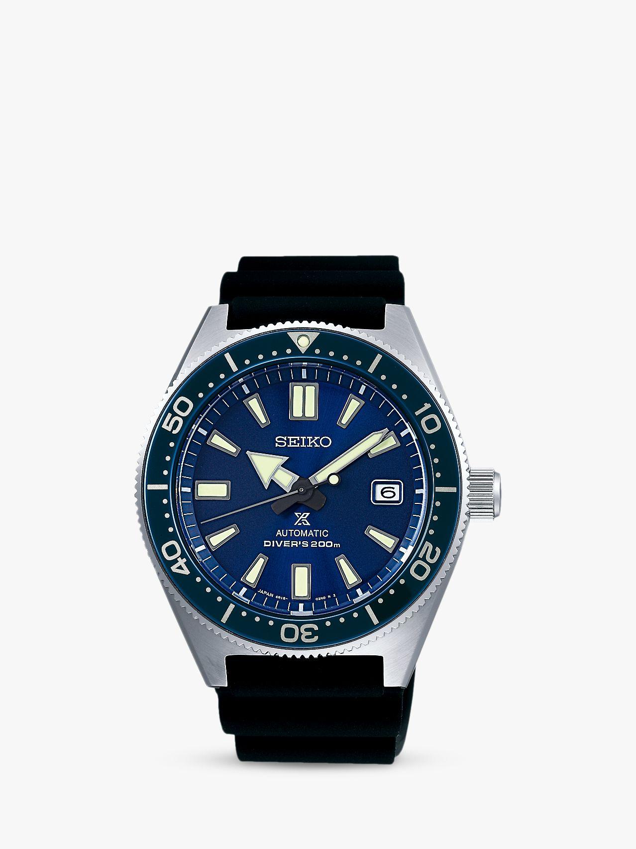 Seiko Seiko SPB053J1 Men's Original Date Automatic Silicone Strap Watch, Black/Blue