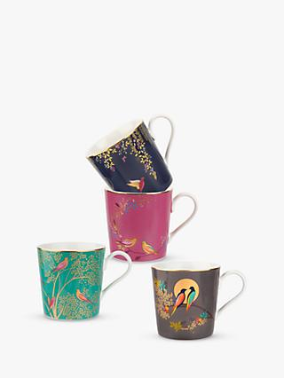 Sara Miller Chelsea Collection Birds Mugs, 340ml, Set of 4, Assorted