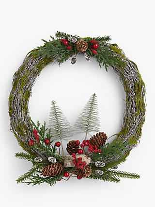 John Lewis & Partners Traditions Trees and Berries Wreath, Multi