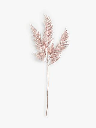 John Lewis & Partners Sanctuary Glitter Fern Spray, Pink