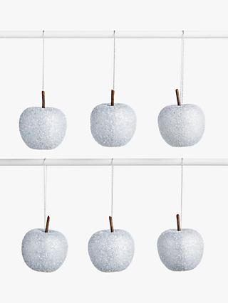 John Lewis & Partners Snowscape Glittered Apple Tree Decorations, Box of 12, Silver
