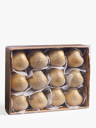 John Lewis & Partners Campfire Glittered Apple Tree Decorations, Box of 12, Gold