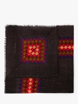 Nice Things Pixel Print Square Wool Shawl, Dark Brown/Multi