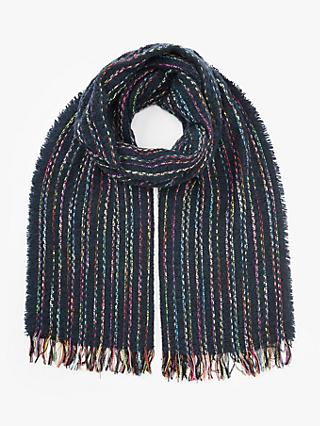 Nice Things Slim Stripe Fringe Wool Scarf, Navy/Multi