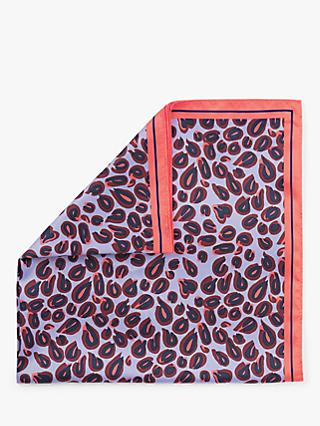 Nice Things Pop Leopard Print Square Wool Scarf, Mauve Mix