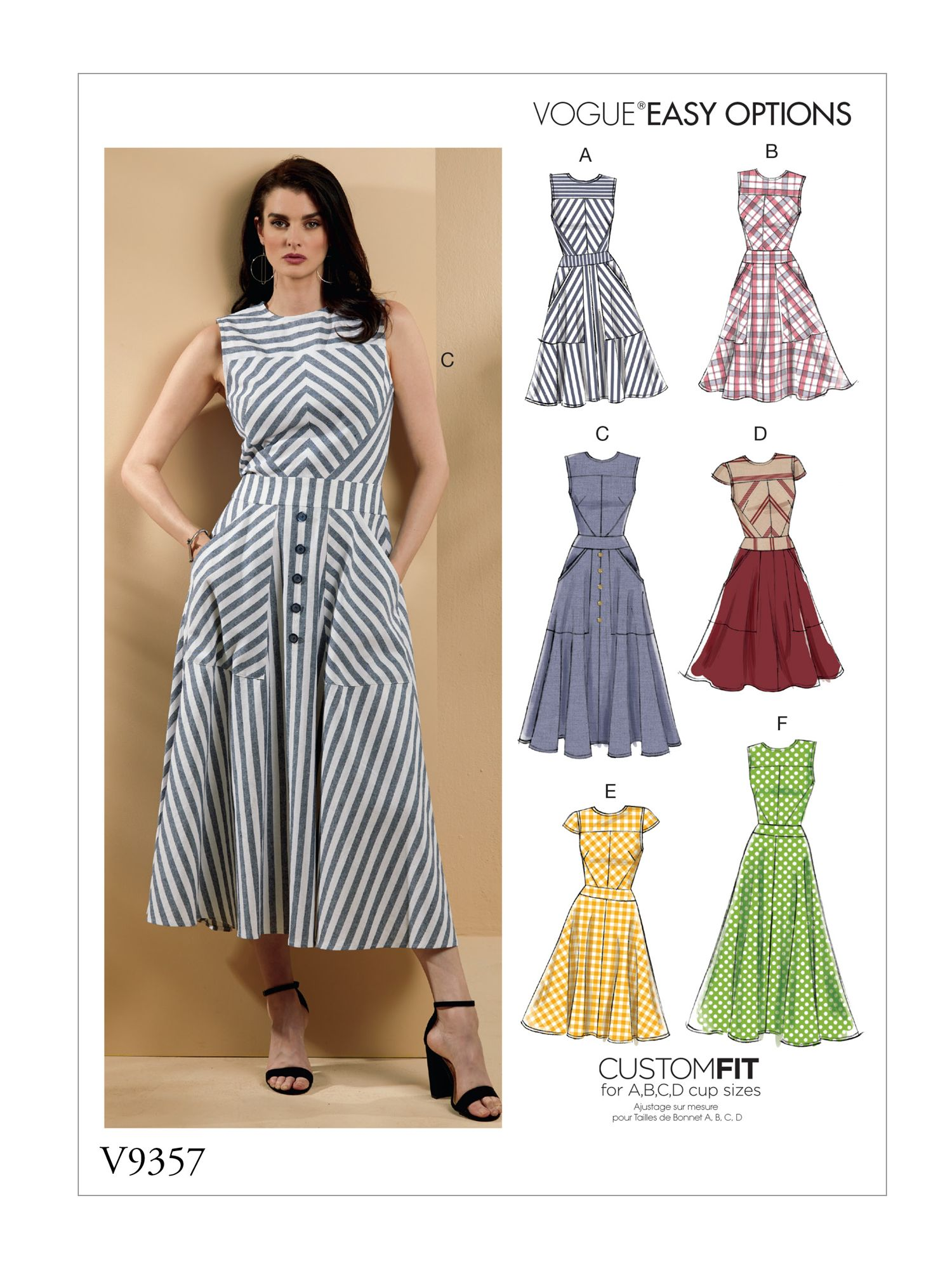 Vogue Easy Options Women S Dress Sewing Pattern 9357 At John Lewis Partners