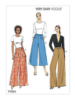 26d294c0cc7 Vogue Very Easy Women s Trousers Sewing Pattern