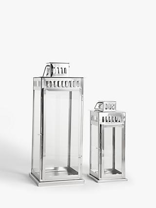 John Lewis & Partners Richmond Lantern Candle Holders, Set of 2, Silver