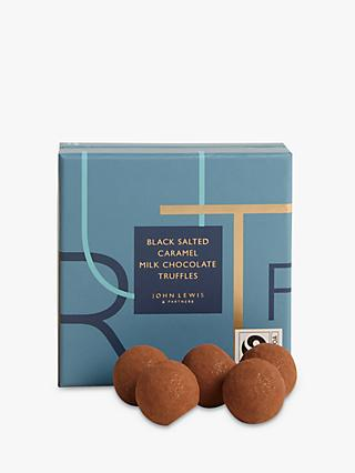 John Lewis & Partners 9 Black Salted Caramel Milk Chocolate Truffles, 90g