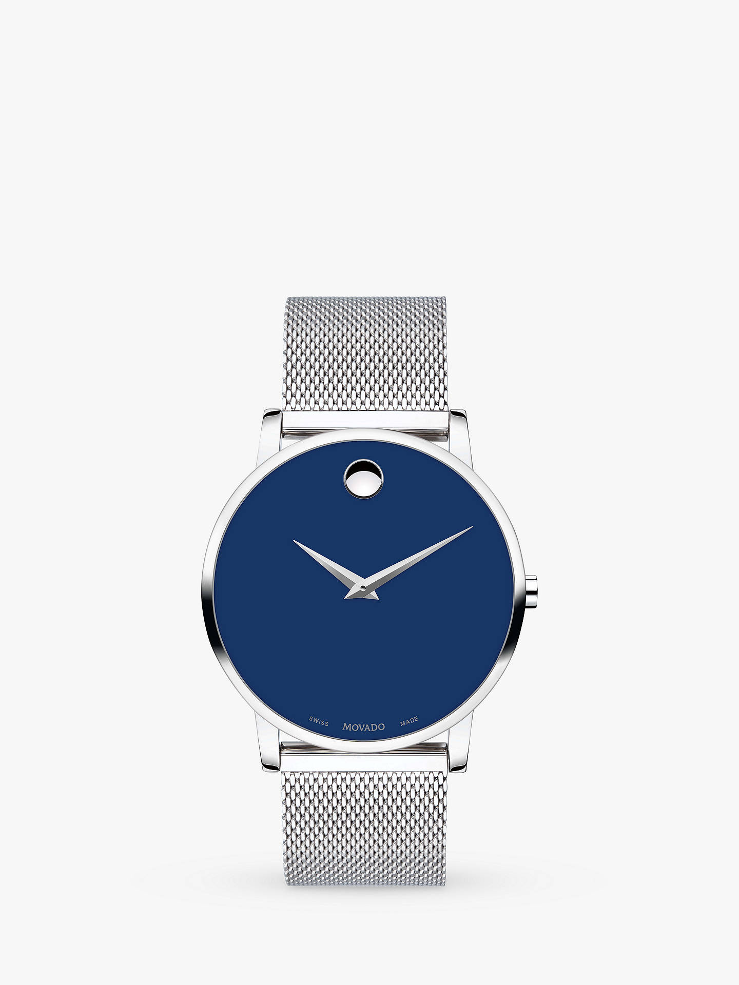 1cb27b5b88473 Buy Movado 607349 Men's Museum Classic Mesh Bracelet Strap Watch,  Silver/Blue Online at ...