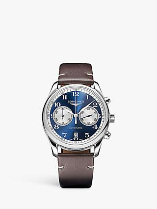 6c6124d5c Longines L26294992 Men's Master Collection Automatic Chronograph Date  Leather Strap Watch, Brown/Blue
