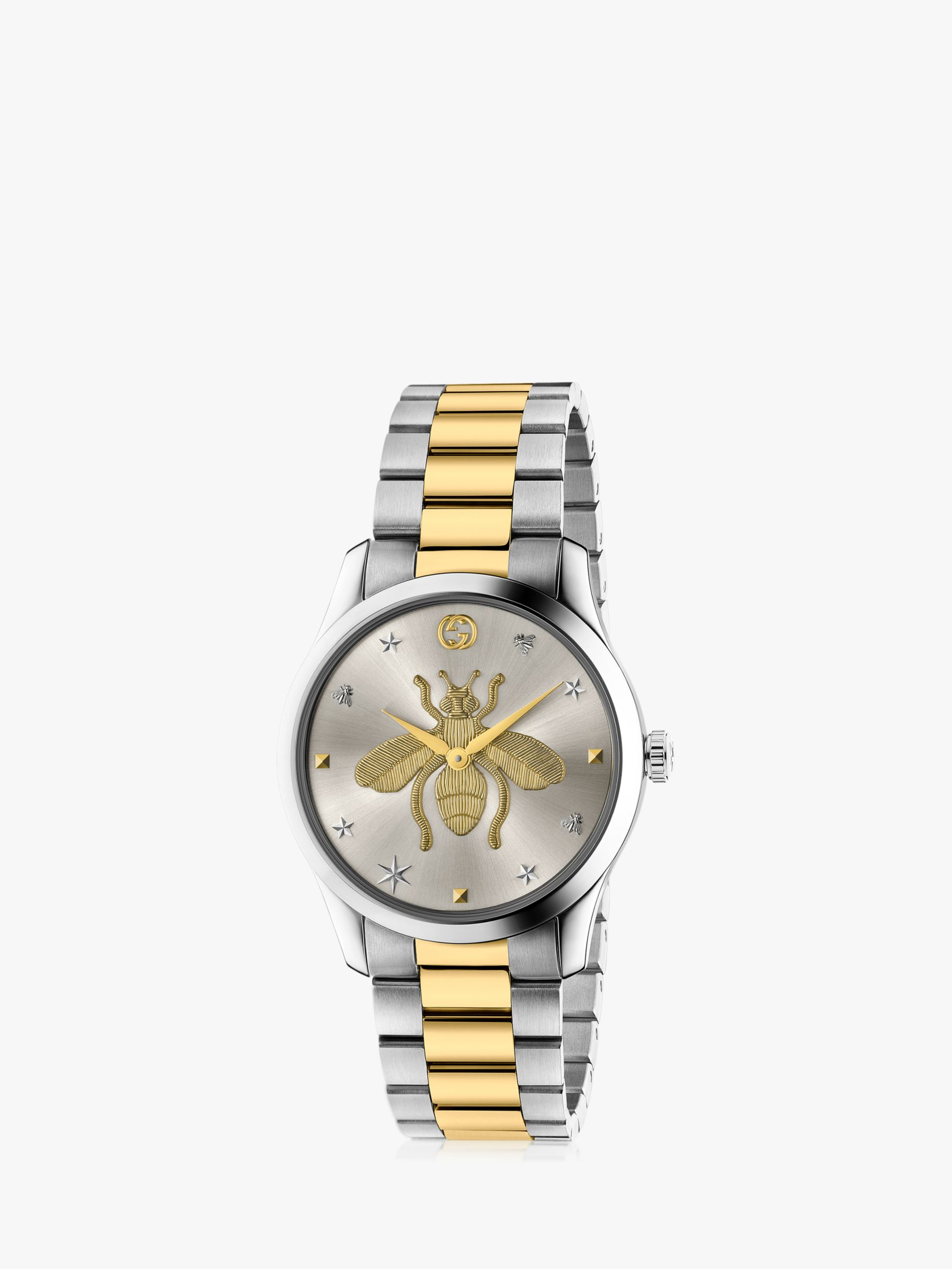 Gucci Gucci YA1264131 Unisex G-Timeless Bracelet Strap Watch, Silver/Gold