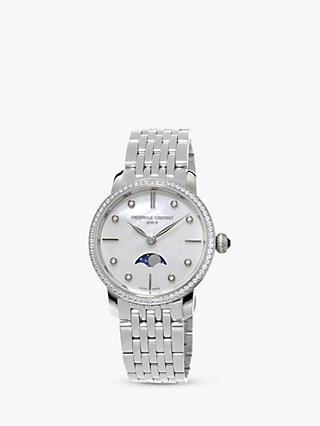 Frederique Constant FC-206MPWD1SD6B Women's Moonphase Diamond Bracelet Strap Watch, Silver/White