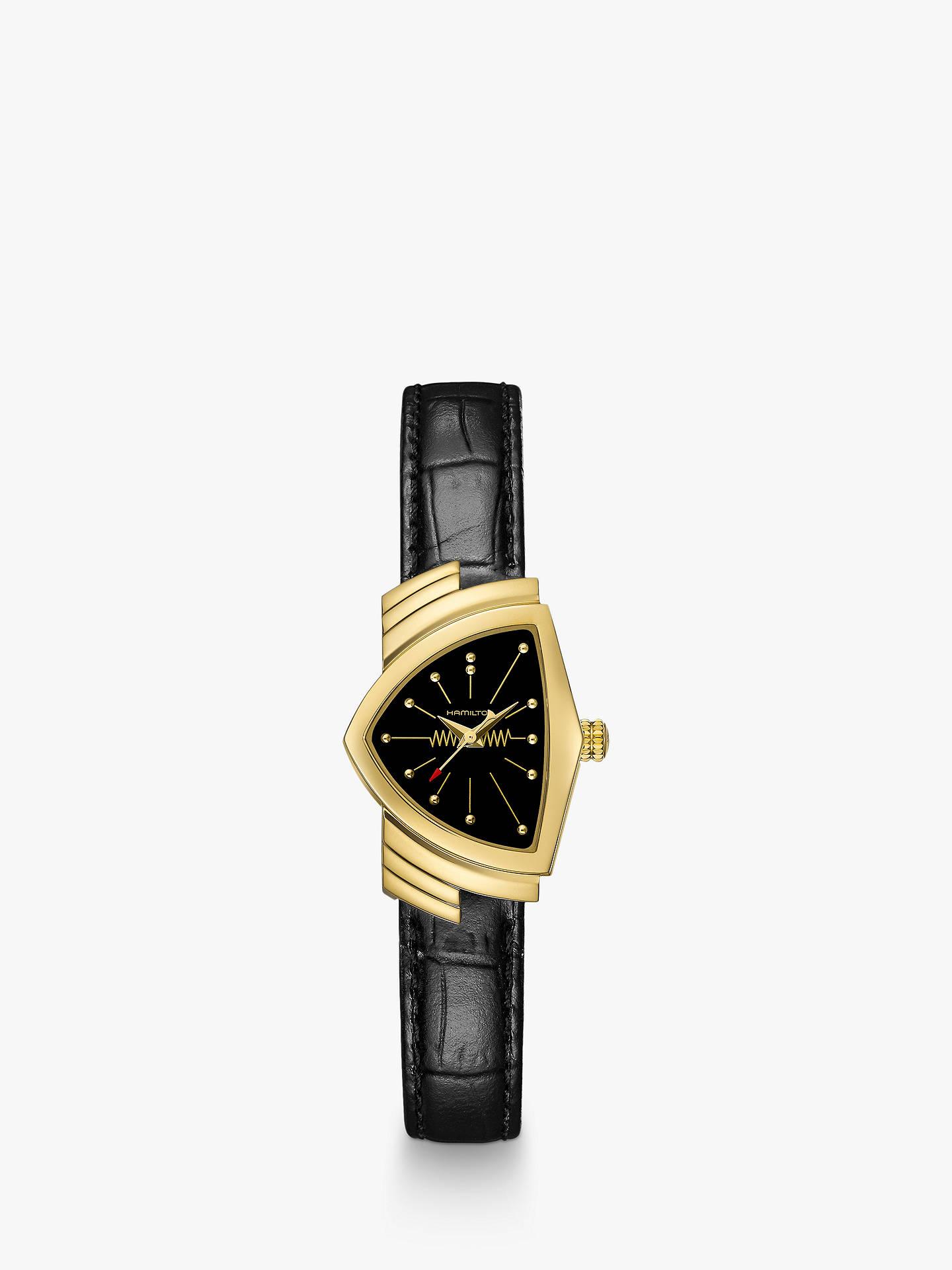 f931ba98ef0 Buy Hamilton H24101731 Men's Ventura Triangular Leather Strap Watch, Black  Online at johnlewis. ...