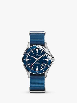 e1c14a5dd Hamilton H82345941 Men's Khaki Navy Scuba Automatic Date Fabric Strap  Watch, Blue