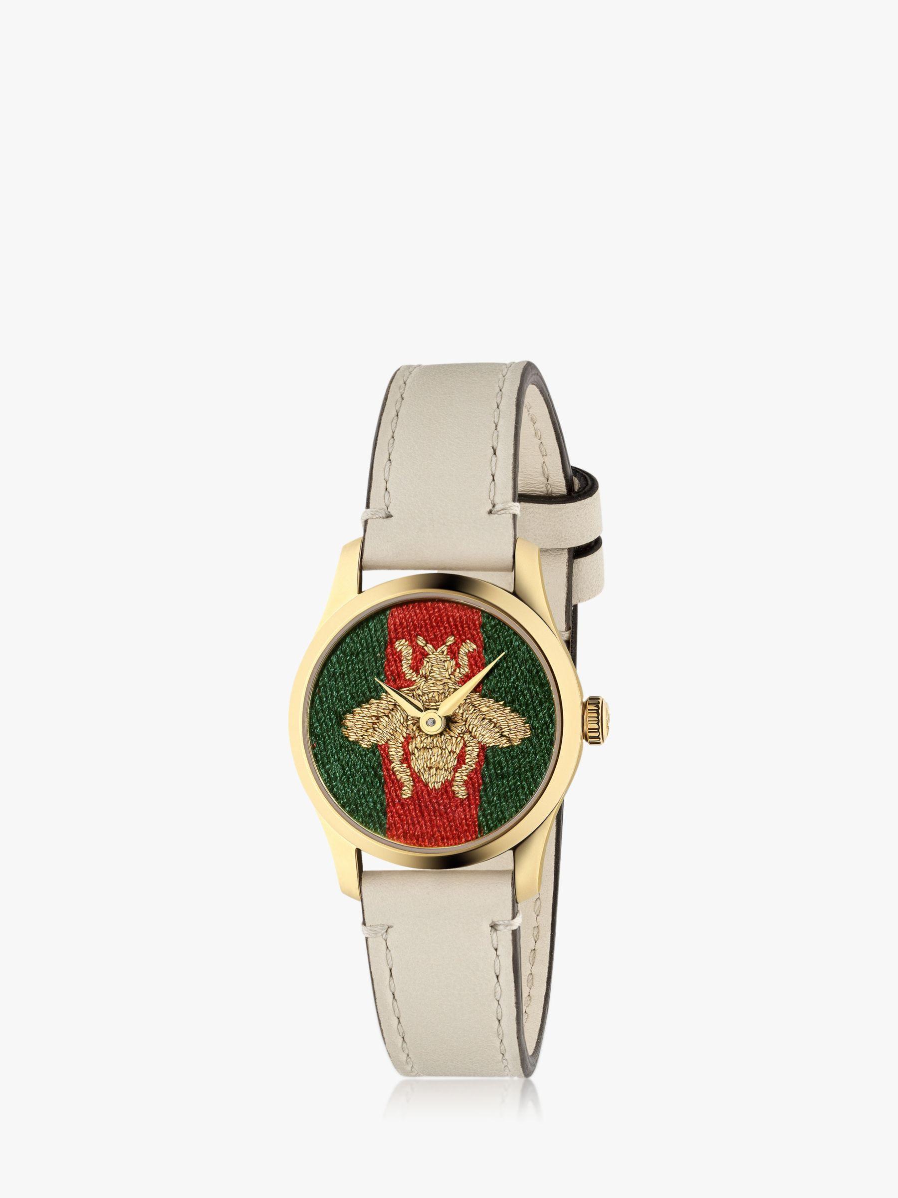 Gucci Gucci YA1265009 Women's G-Timeless Leather Strap Watch, Off White/Multi