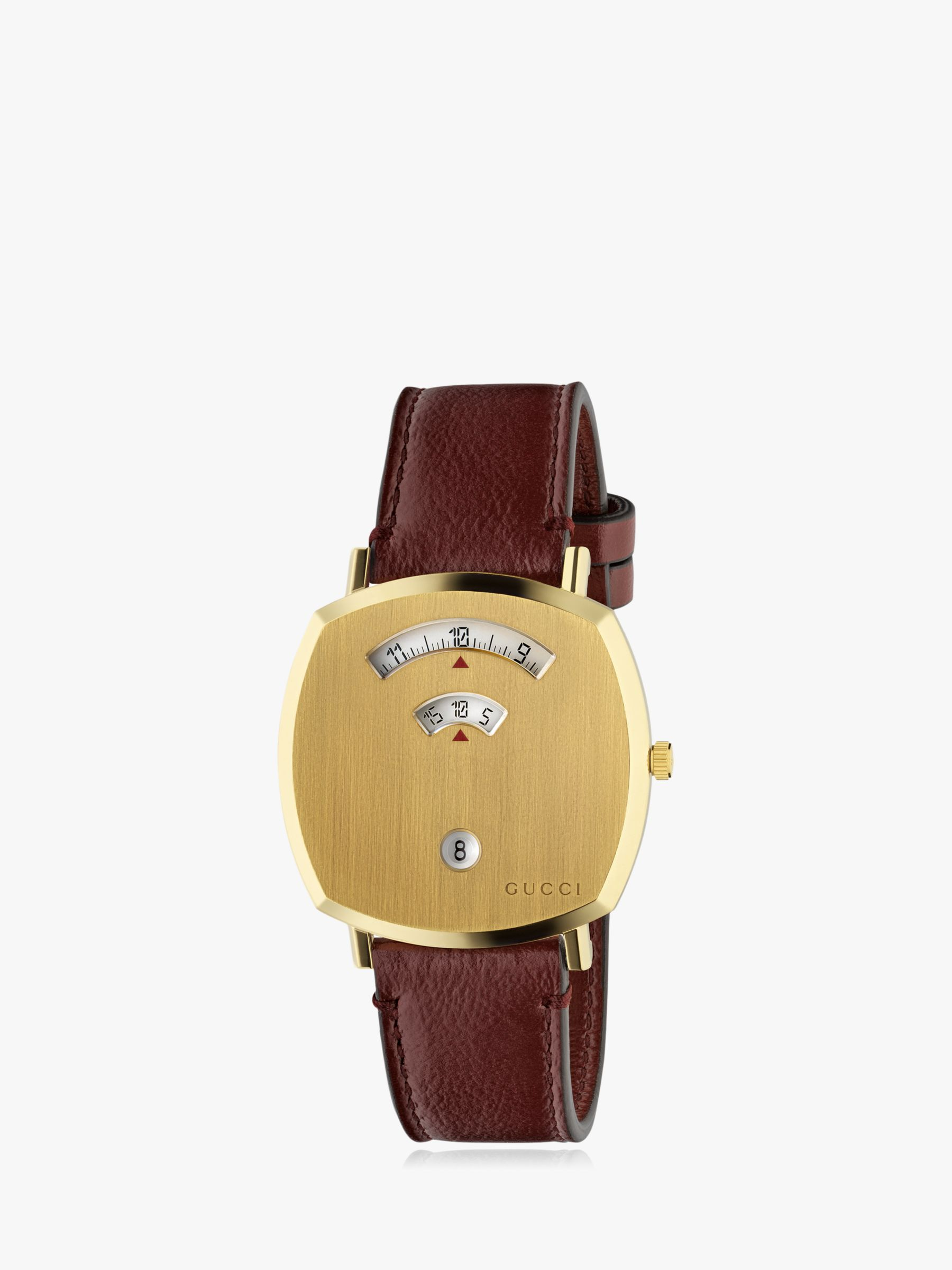 Gucci Gucci YA157410 Unisex Grip Date Leather Strap Watch, Gold